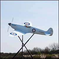 The statue of a Spitfire that sits on a roundabout outside the entrance to Southampton Airport.