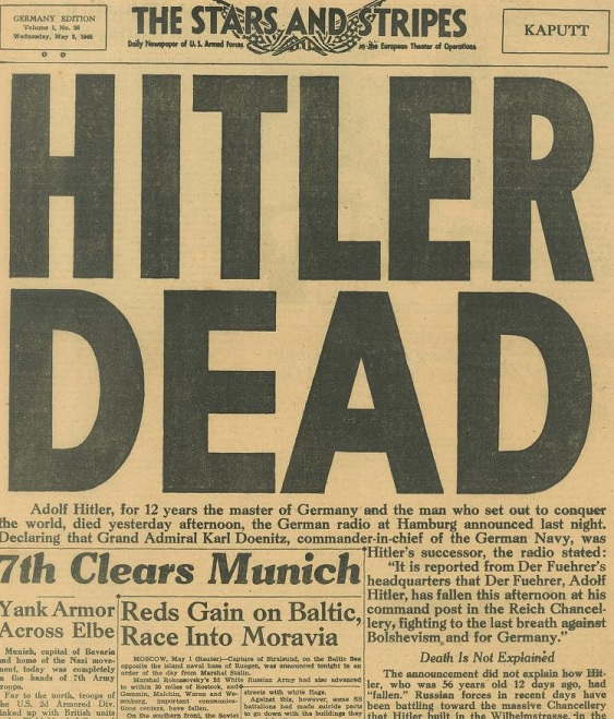 Hitler is dead headline.