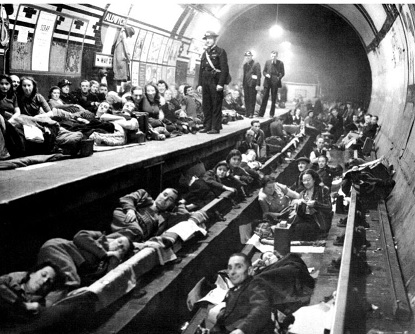 Aldwych tube station as a bomb shelter.