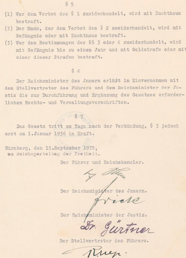 Signature page of Nuremberg Laws.