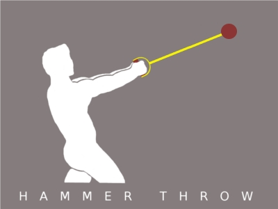 A male competitor throwing the hammer.