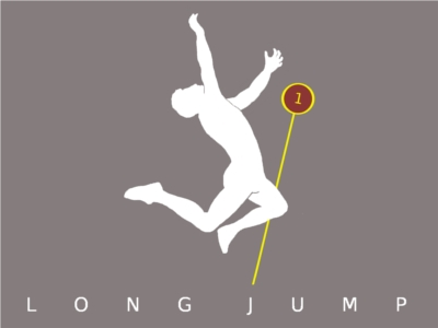 A male competitor doing a long jump.