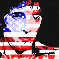 Rock legend Bruce Springsteen; his face is an image of the 'Stars and Stripes' flag of the USA.