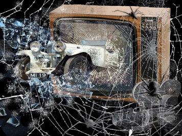 A spider on a television covered in webs with a car breaking out of the screen.