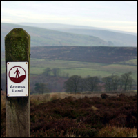 Land Access sign on the Staffordshire Moorlands.