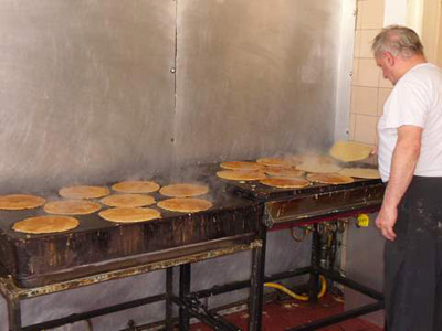 Some Staffordshire oatcakes in production.