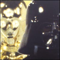 C-3PO and <br/> <br/> Darth Vader, key characters in the Star Wars films.