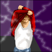 An illustration of a man taking off a sweater and receiving a number of static electric shocks.