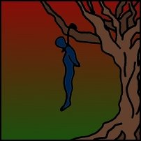 A man hung from a tree.