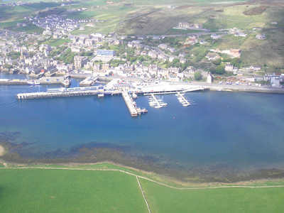An aerial photo of Stromness.