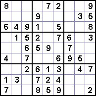 A section of a Su Doku puzzle.
