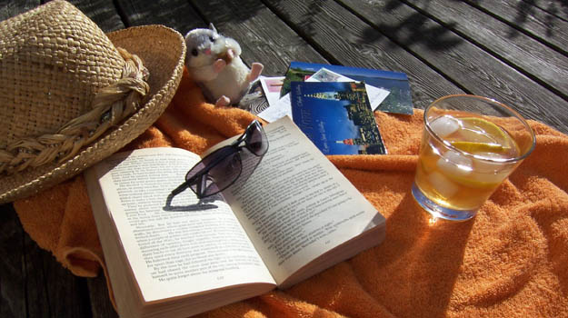 Book, sunglasses and cold drink.