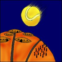 An artist's conception of a Basketballinian colony being flattened by a tennis ball asteroid.