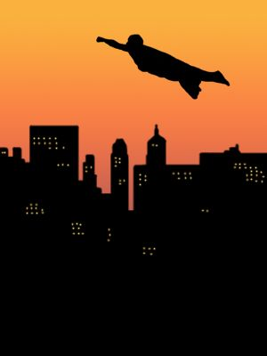 Silhouette of a superhero flying across a city skyline.