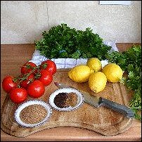 Ingredients in Lebanese Tabbouleh.