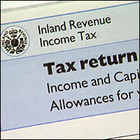 A UK Inland Revenue Tax Return form.