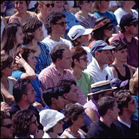 Crowds watching a match at the All England Lawn Tennis Championships, Wimbledon.