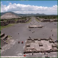 View of the Avenue of the Dead from the Pyramid of the Moon, Teotihuacan, Mexico.