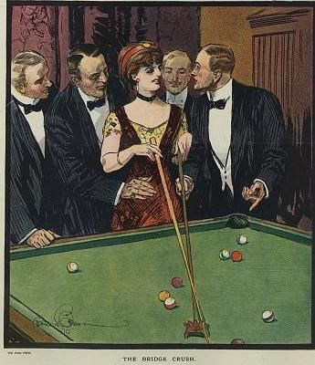 Hot chick attracts cool men in 1910.
