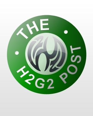 A crest bearing the legend The H2G2 Post