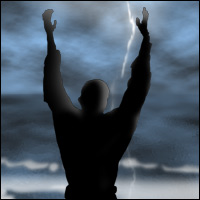 A man stands facing the stormy seas with his hands in the air.