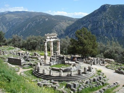 The ruined Tholos temple at Delphi, Greece.