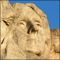 Sculpture of Thomas Jefferson at Mount Rushmore.