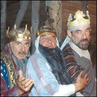 John Bluthal, Trevor Peacock and Roger Lloyd Pack as the three wise men in UK TV show 'The Vicar of Dibley'.