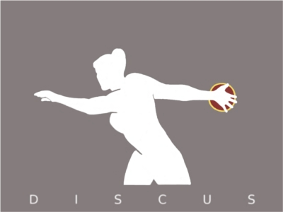 A stylised, classical greek image of a woman throwing a discus.