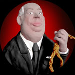 A caricature of Sir Alfred Hitchcock, holding a noose.