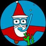 Santa Claus, scuba diving