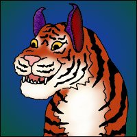 A tiger with slippers on its ears.