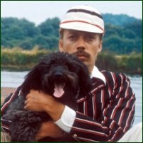 Tim Curry (right) as Jerome K Jerome, with canine friend as Montmorency in a 1975 BBC Production of 'Three Men in a Boat'.