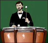 A man playing timpani drums.
