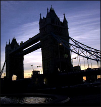 London's Tower Bridge, in silhouette.