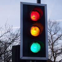 Colourful traffic lights.