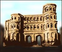 A Roman gateway - the The Porta Nigra in Trier.