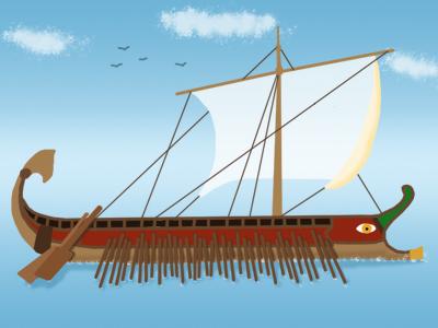 A Roman trireme.