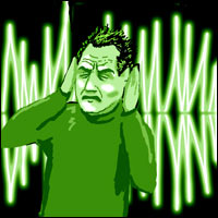 A man covers his ears as a sound wave blasts him.