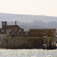 View across the water to Yarmouth Castle.