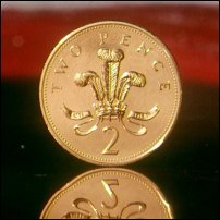 A two pence coin, quite often used for settling disputes in the United Kingdom.