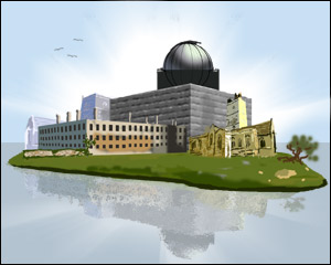 The many halls and buildings of the h2g2 University - graphic by Community Artist Jimster.