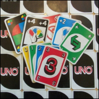 A small selection of UNO playing cards.