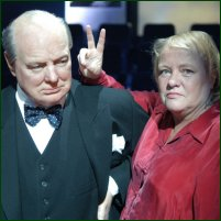 Mo Mowlam revisits Churchill's famous 'victory' gesture for the 'Great Britons' BBC TV series.