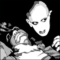 A vampire looms lustfully over the exposed neck of his next victim. Eek!