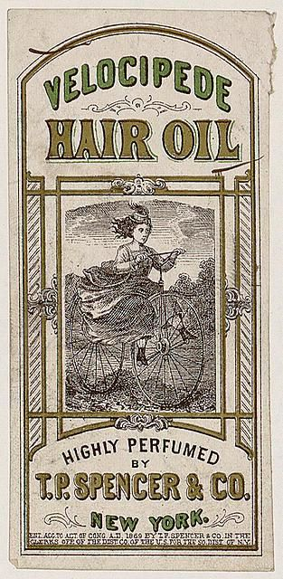 An advert for Velocipede Hair Oil, 1869.