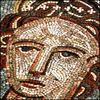 Mosaic depicting the Roman goddess Venus from Bignor Roman villa, Sussex.