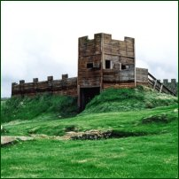 A recreation of the Roman fort of Vindolanda.