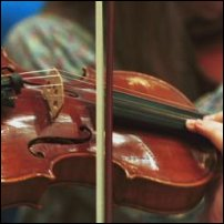 A violin bow resting on the strings of a violin.