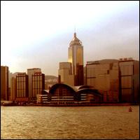 Hong Kong harbour at dawn.